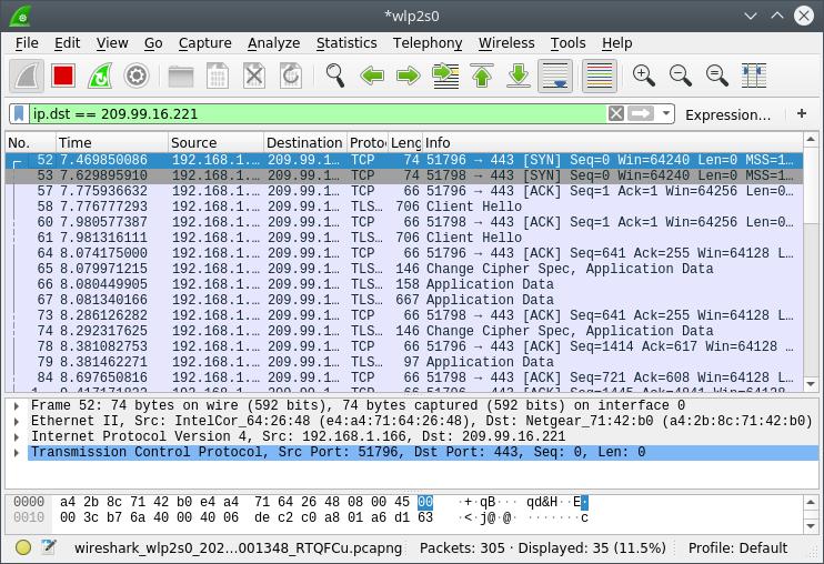 Captured TCP traffic