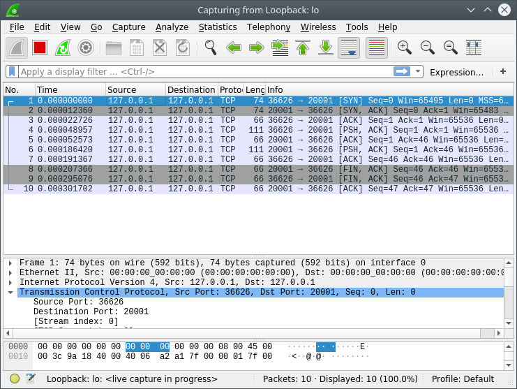 TCP traffic captured by Wireshark