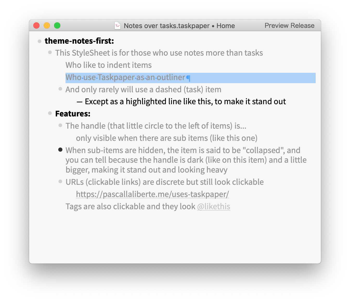 Preview of a TaskPaper with the Light StyleSheet applied