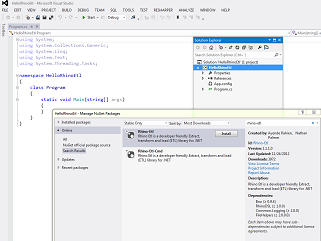 Screenshot of Visual studio search for Nuget package