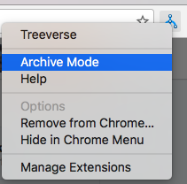 Treeverse context menu showing Archive Mode