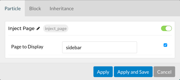 'Inject Page' options