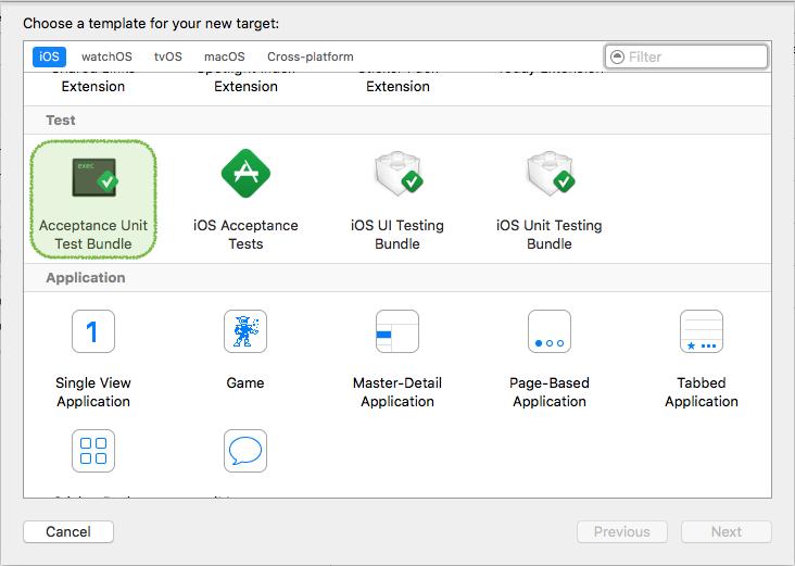 iOS Acceptance Unit Tests Template