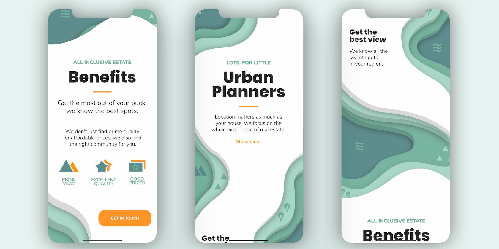 """Flutter parallax scroll """"Urban Planners"""""""