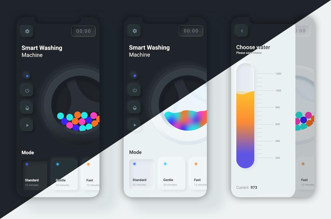 Flutter smart washing machine app