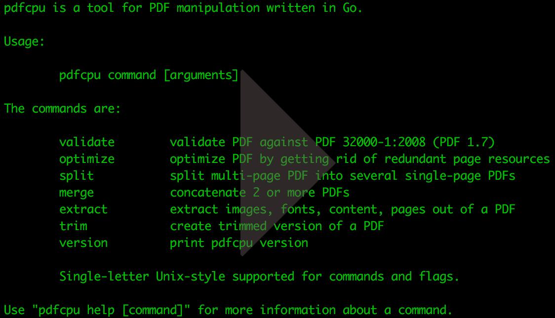 pdfcpu: a golang pdf processor
