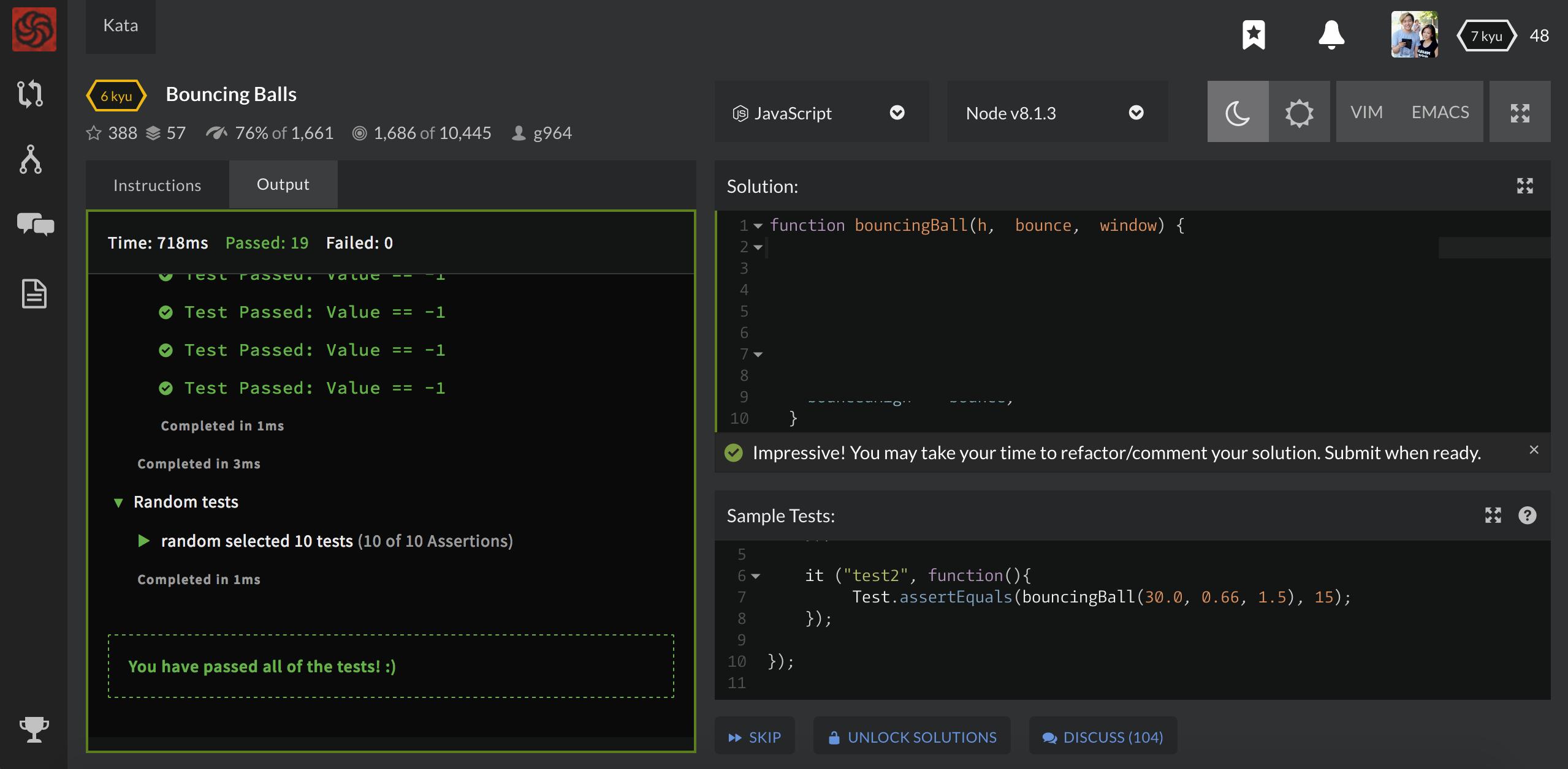 как выглядит kata в codewars?