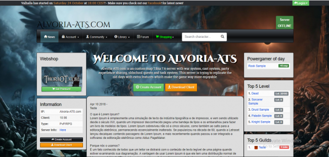 [Web] Baul layouts Gesior 2012 Preview