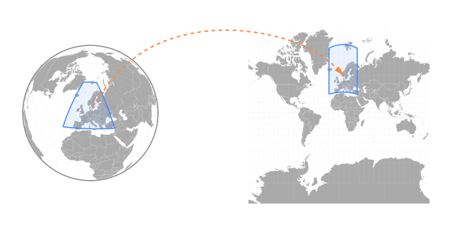 Figure of lat/lng bounds being projected onto a surface