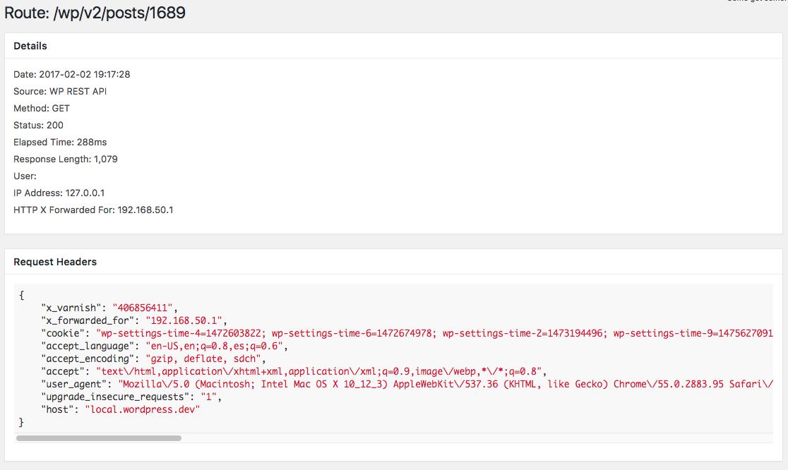 Sample log entry details