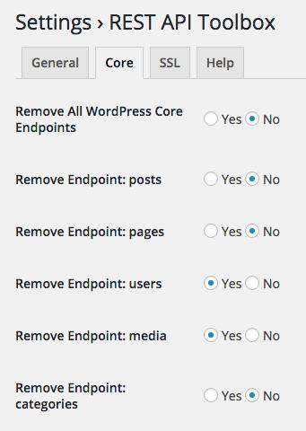 WordPress core settings