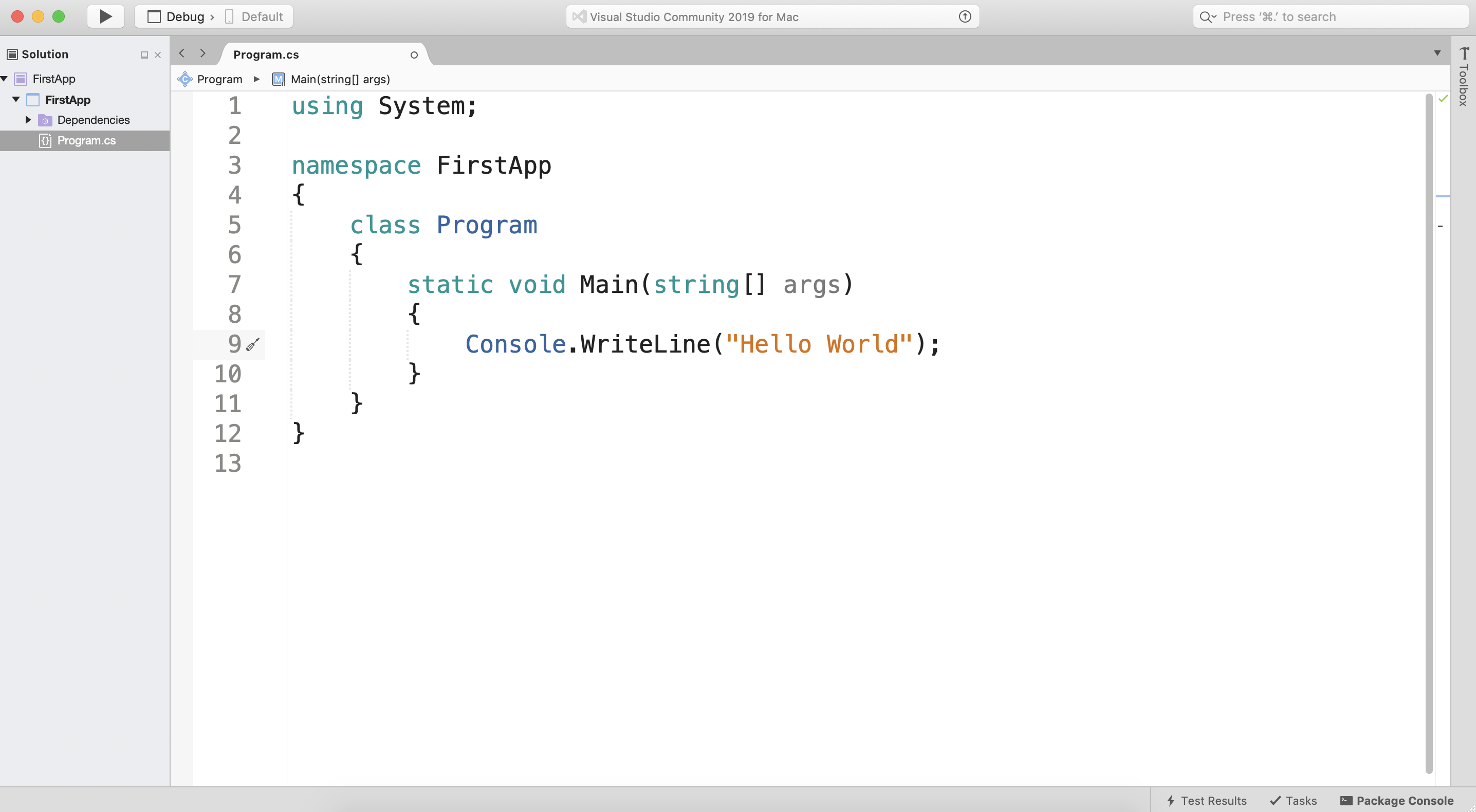 The first sight of a 'Hello World' console app