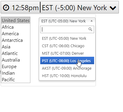 Searchable Timezone Selector Widget in jQuery