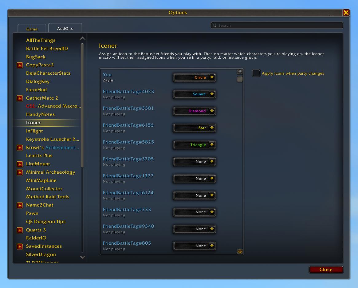 Screenshot of Iconer Configuration