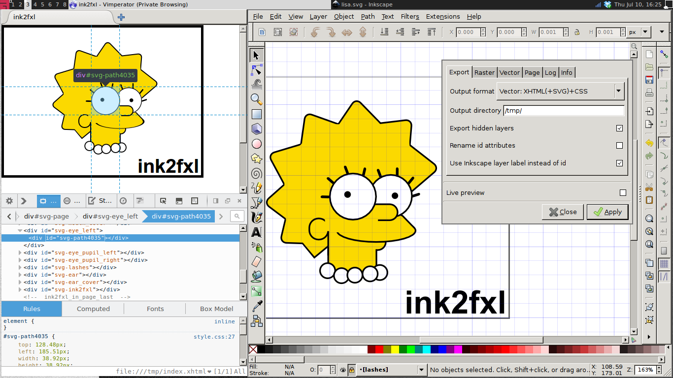 Inkscape SVG => XHTML in Firefox