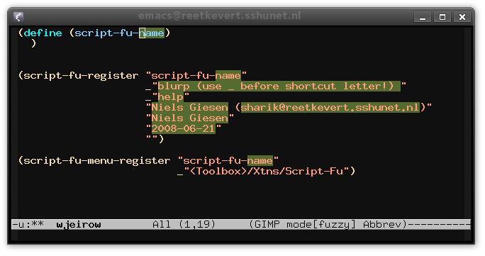 Snippet to set up the framework of a script-fu script