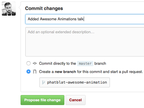Commit changes form