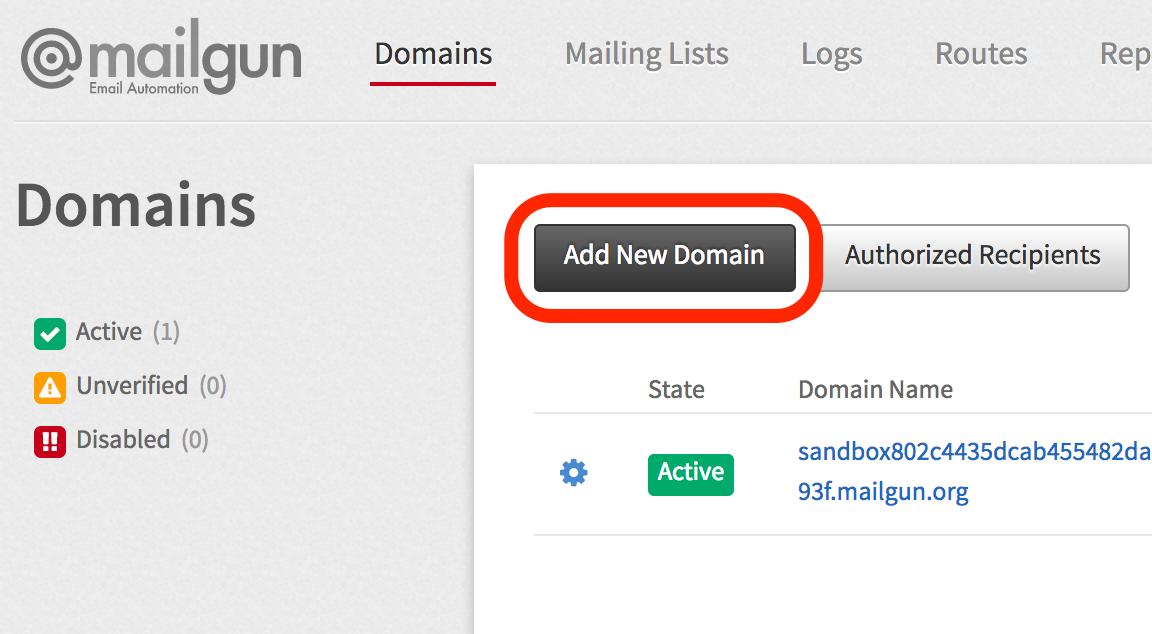 Mailgun Add Domain Button Screenshot