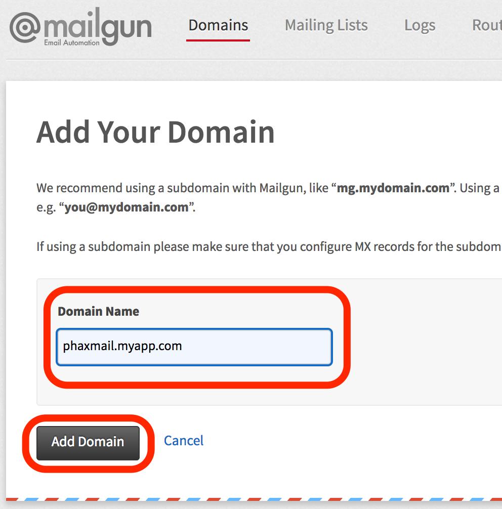 Mailgun Add Domain Form Screenshot