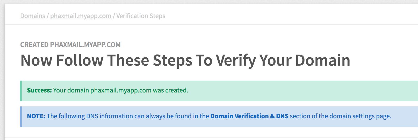 Mailgun Verify Domain Page Screenshot