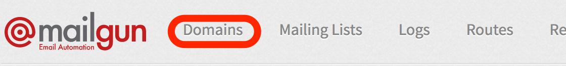 Mailgun Domains Tab Screenshot
