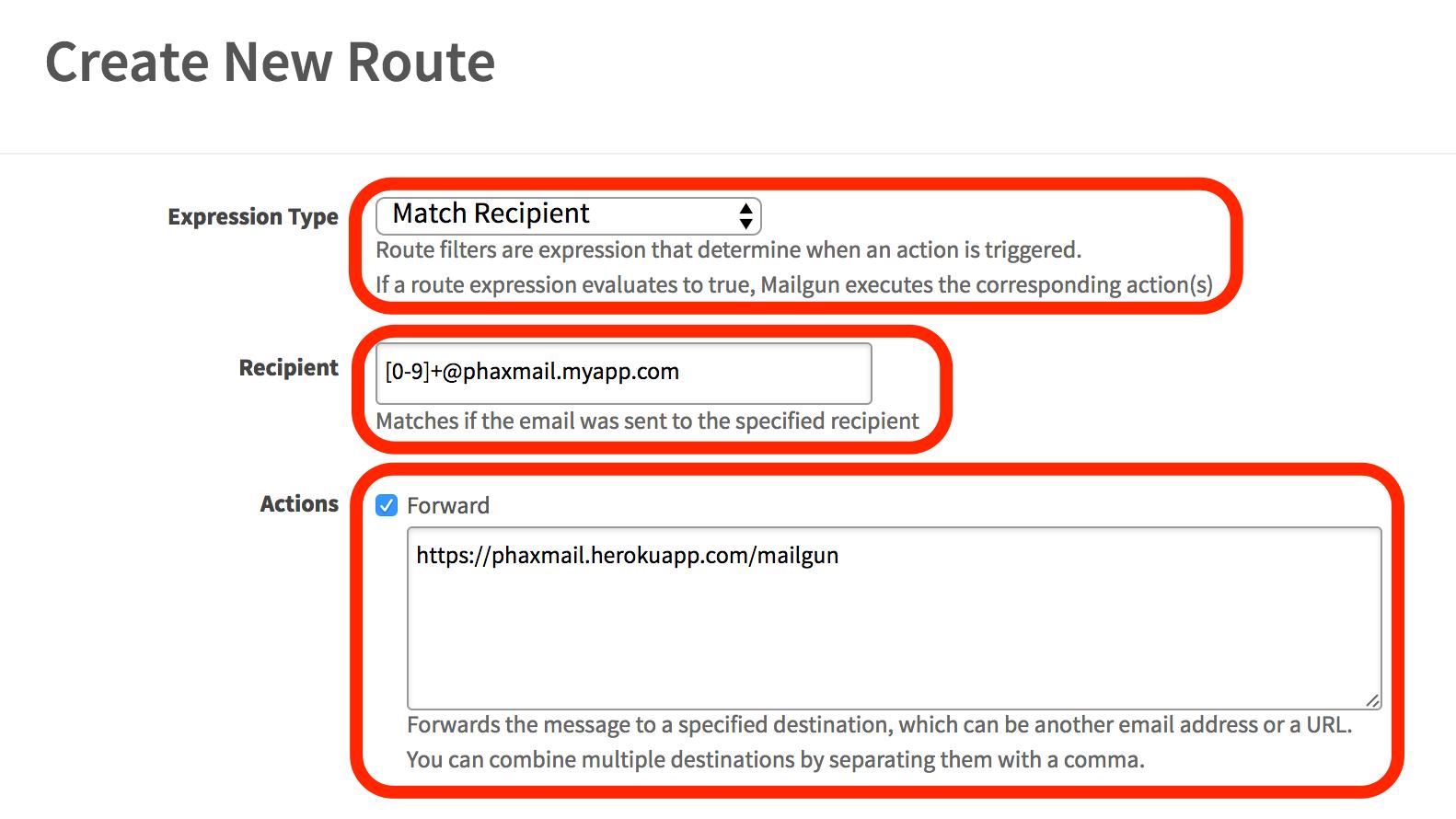 Mailgun New Route Page Screenshot 1