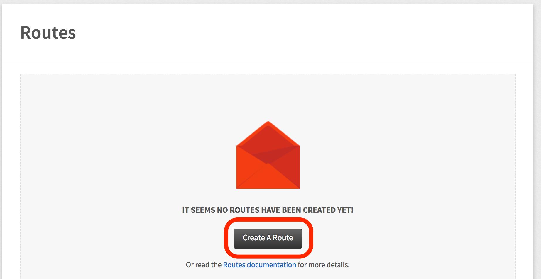 Mailgun Create Route Button Screenshot