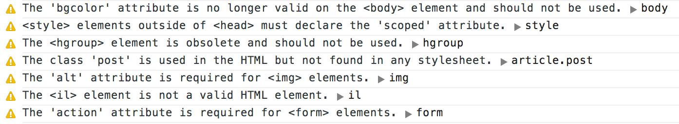Sample HTML Inspector Output
