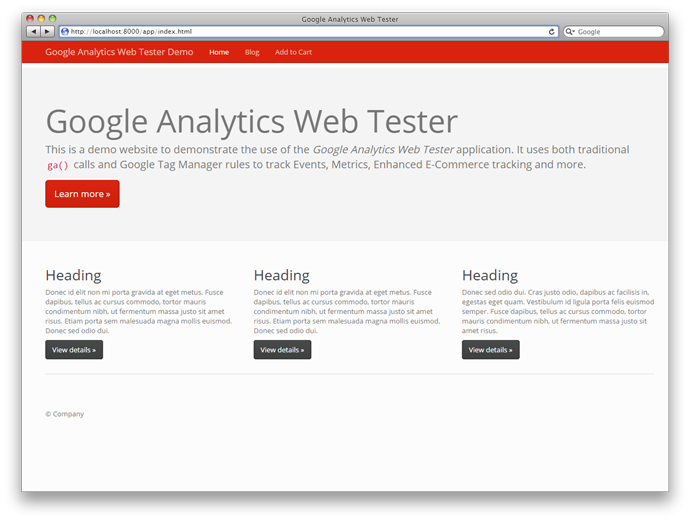 Google Analytics Web Tester
