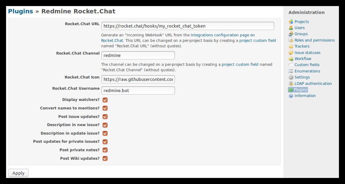 GitHub - phlegx/redmine_rocketchat: Rocket Chat notification
