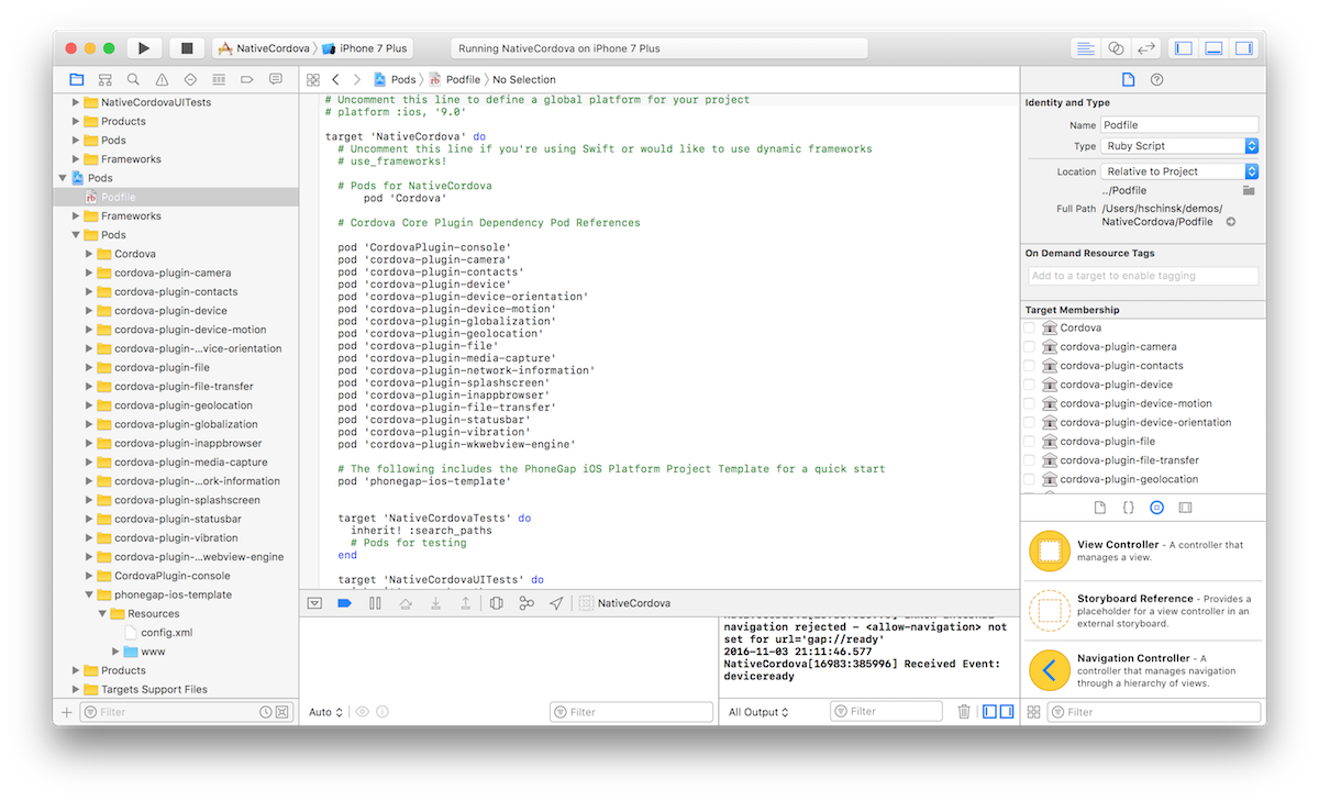 Phonegap ios template on cocoapods pods in native project pronofoot35fo Choice Image