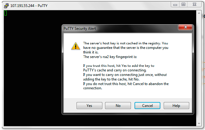 Alert from PuTTY