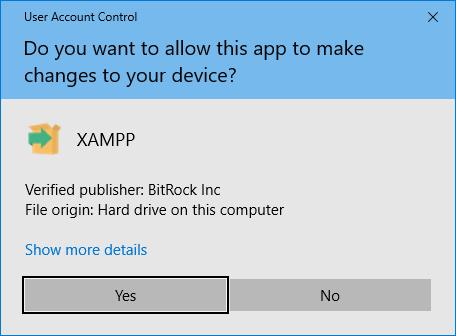 XAMPP allow changes