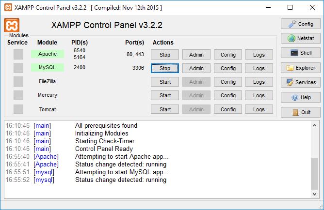 XAMPP control panel started