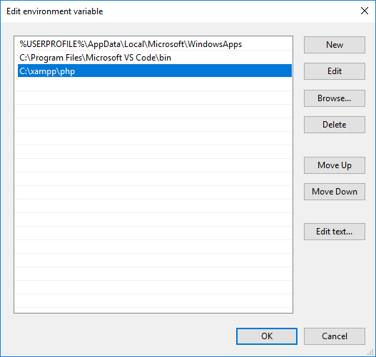XAMPP environment variable editing