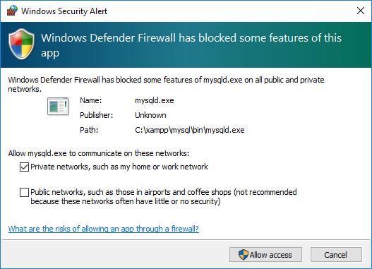 XAMPP MySQL firewall
