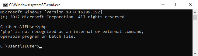 XAMPP php unrecognizd command