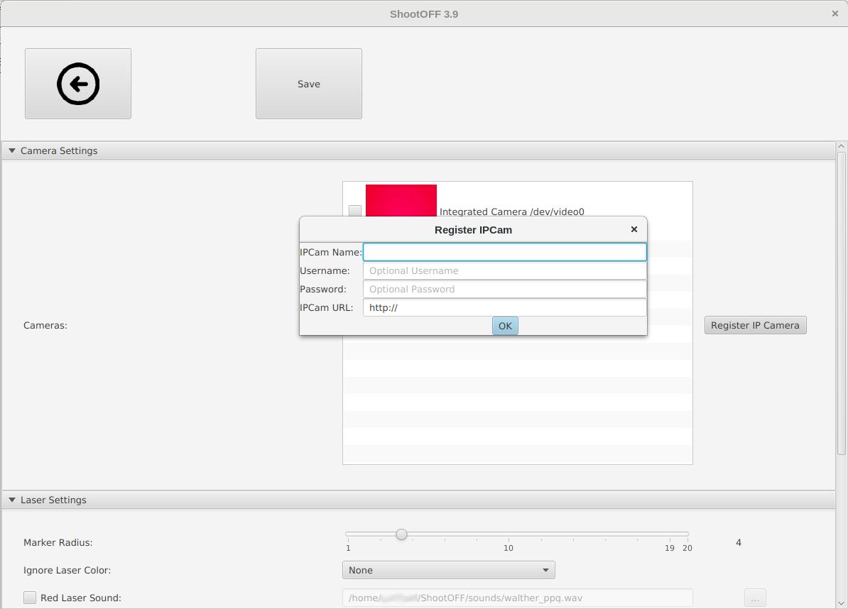 Register IP camera dialog