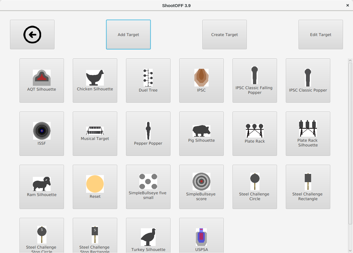 The Add Target menu showing targets.