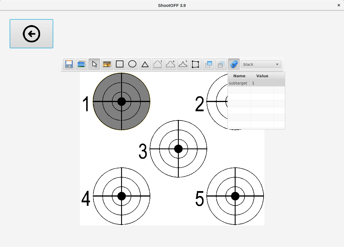 The target editor showing two shapes, with one selected and having tags edited.