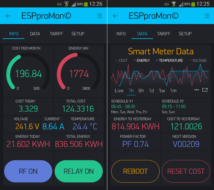 ESPproMon Smartphone Energy Monitoring and Control app tabs 1 and 2