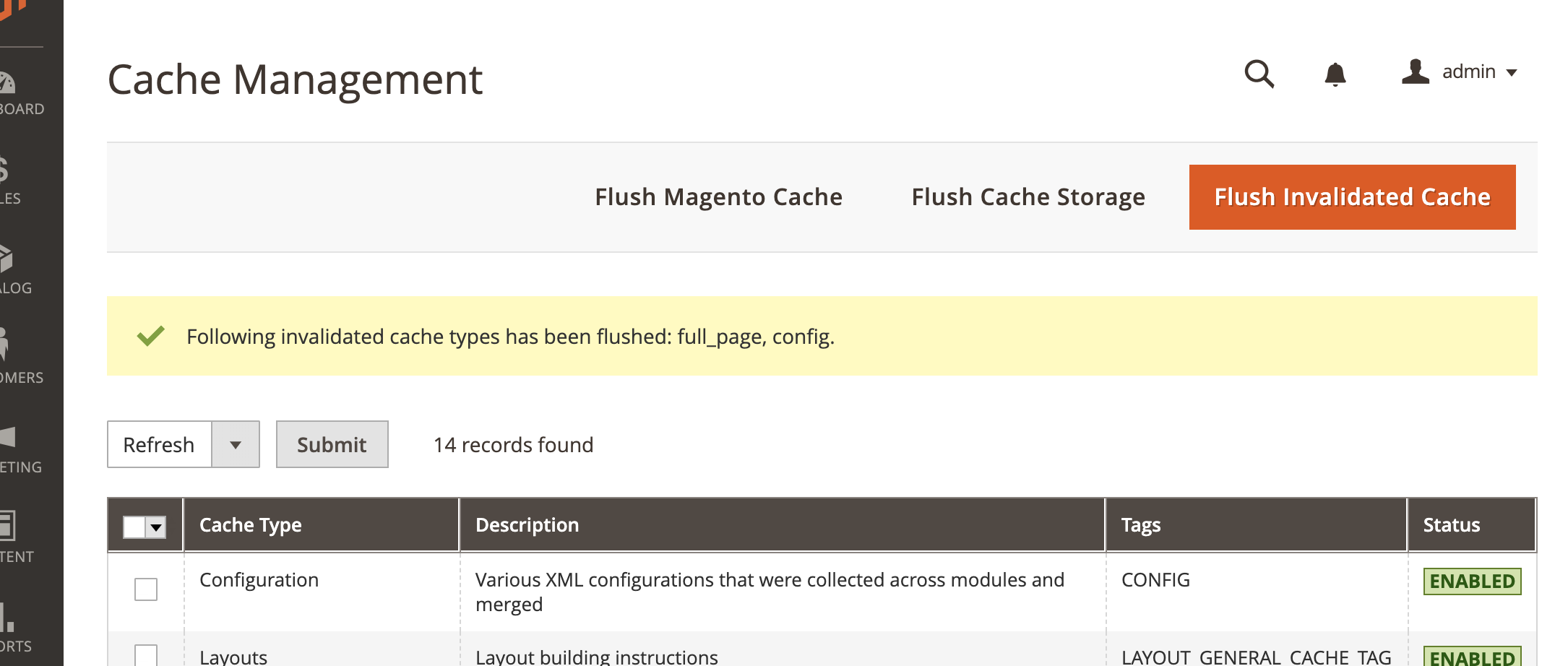 Flush invalidated cache button