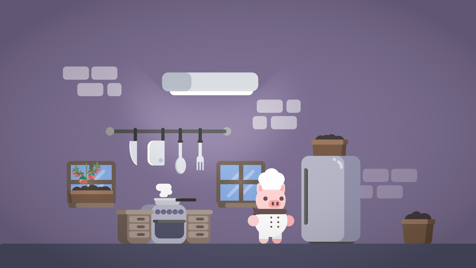 A pig dressed as a cook in a kitchen
