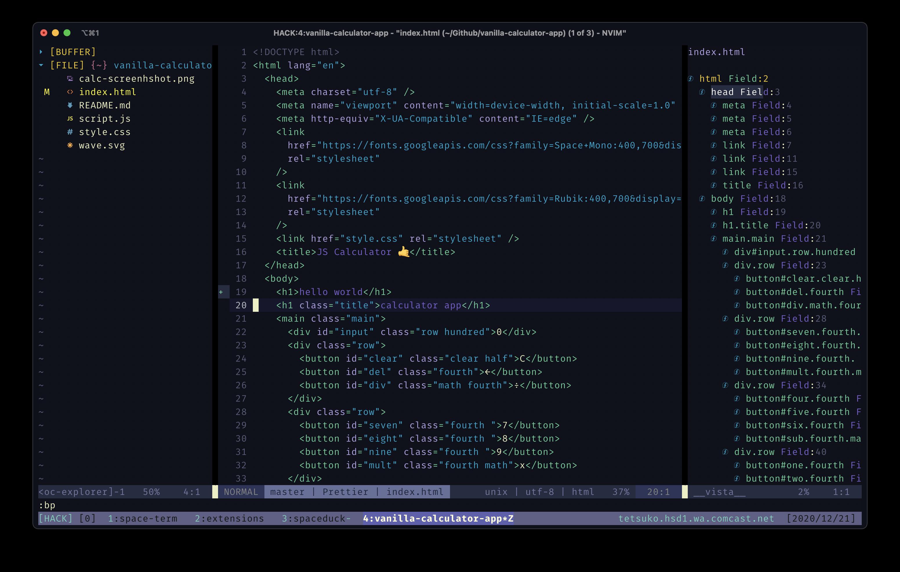 Screenshot of spaceduck theme using HTML