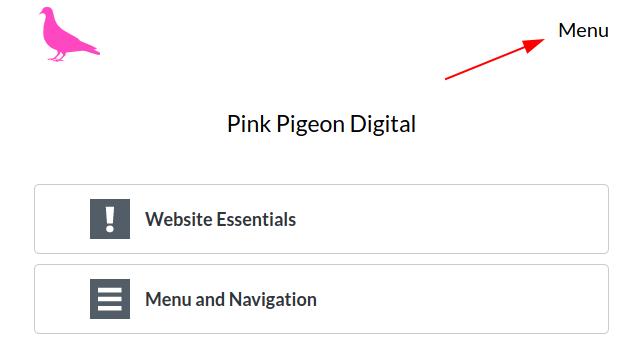 Image of main menu location on desktop
