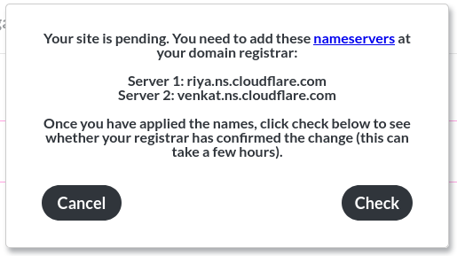 Image of the 'enter domain' popup