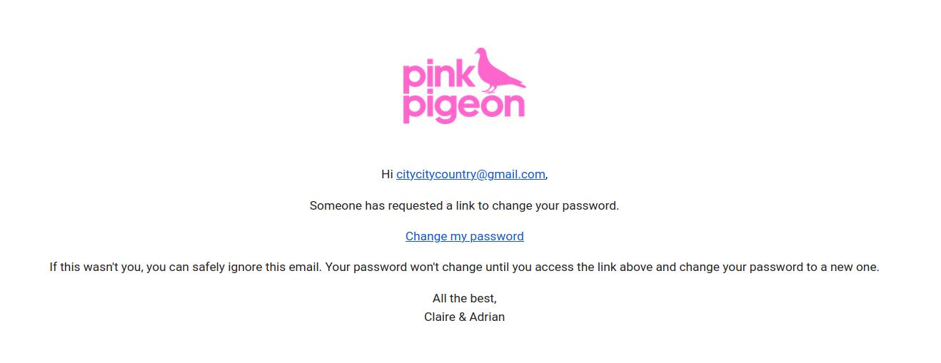 Image of password reset password email
