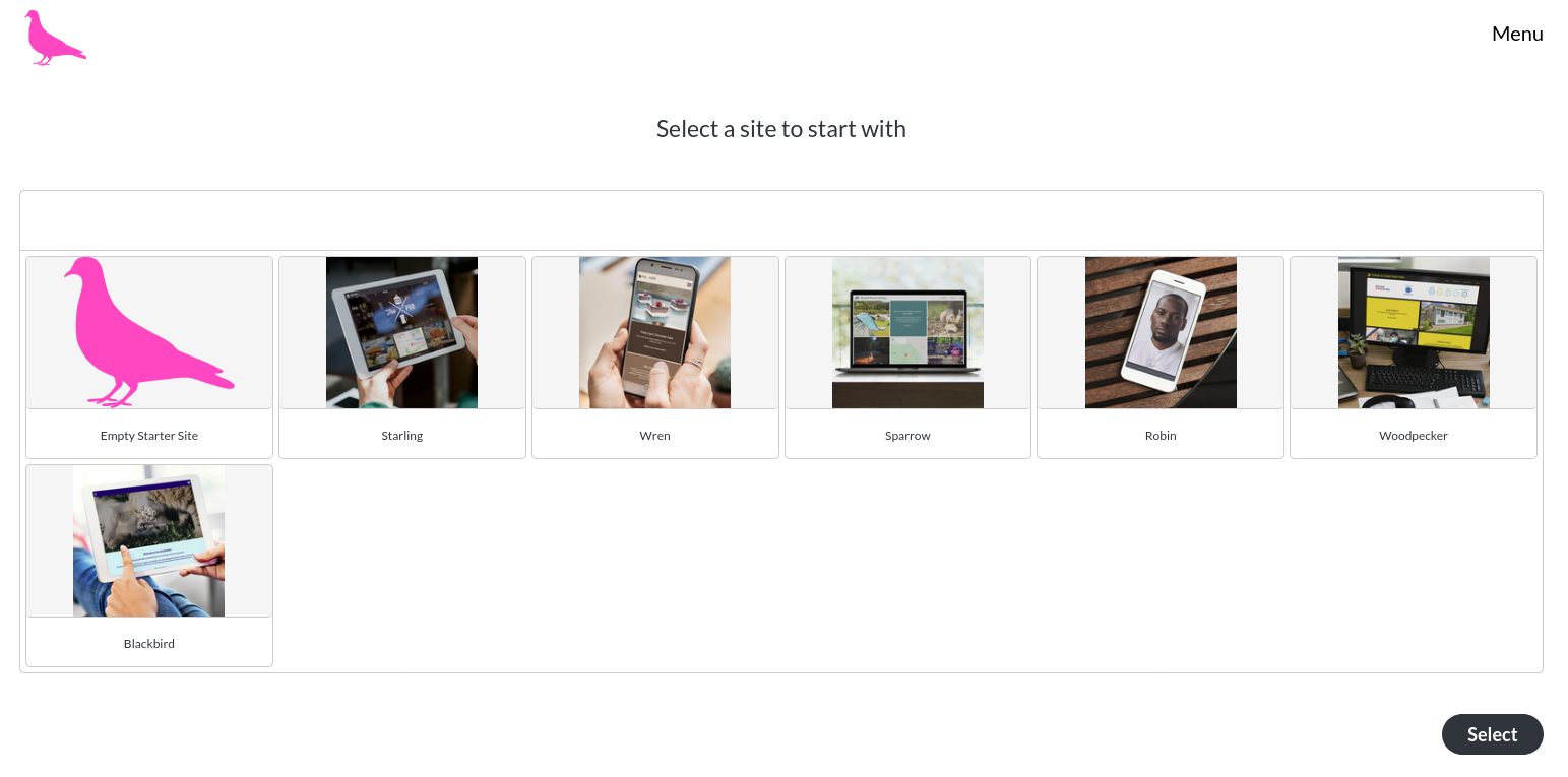 Image of the site selector