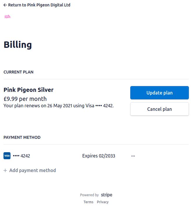 Image of stripe billing portal
