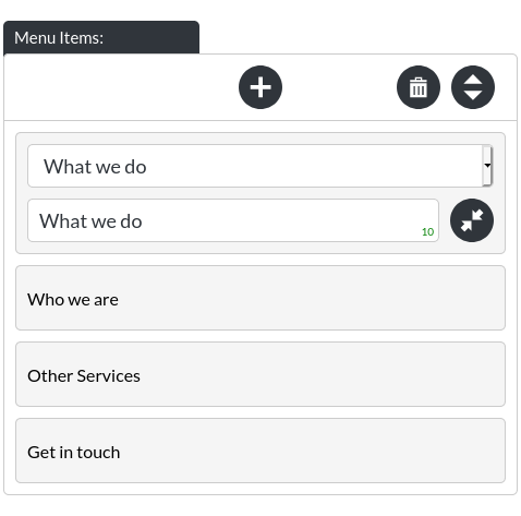 Image of Menu Items, within Menu and Navigation, for advanced users, on mobile